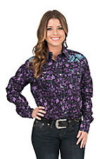Cowgirl Hardware Women's Black with Purple Floral Print and Turquoise Embroidery Long Sleeve Western Snap Shirt