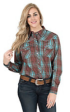 Cowgirl Hardware Women's Brown and Turquoise Distressed Plaid Long Sleeve Western Shirt