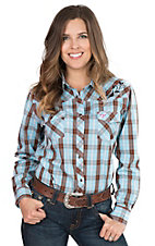 Cowgirl Hardware Women's Turquoise Plaid with Embroidered Yokes Long Sleeve Western Snap Shirt