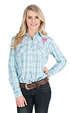 Cowgirl Hardware Women's Turquoise and White Plaid Long Sleeve Western Snap Shirt