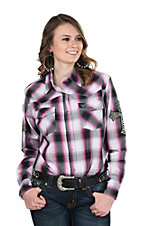 Cowgirl Hardware Women's Fuschia and Black Plaid with Crosses Long Sleeve Western Shirt