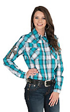 Cowgirl Hardware Women's Turquoise Plaid with Cross Patch Long Sleeve Western Snap Shirt