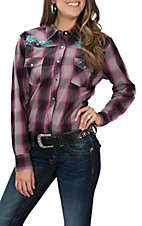Cowgirl Hardware Women's Black and Magenta Plaid w/ Embroidered Rose Vine L/S Western Snap Shirt