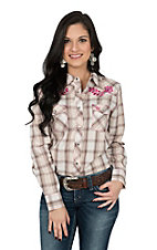 Cowgirl Hardware Women's Cream Plaid Rose Vine Embroidery Western Shirt