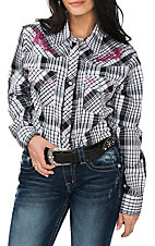 Cowgirl Hardware Women's Black and White Plaid with Pink Embroidery Western Snap Shirt