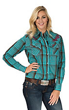 Cowgirl Hardware Women's Teal and Brown Plaid with Pink Embroidery Western Shirt