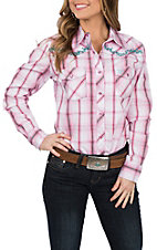 Cowgirl Hardware Women's Pink Plaid Vine Embroidered L/S Western Snap Shirt