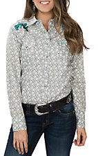 Cowgirl Hardware Women's Feathered Horseshoe Embroidered Western Snap Shirt