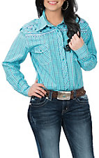 Cowgirl Hardware Women's Turquoise Plaid Palomino L/S Western Snap Shirt