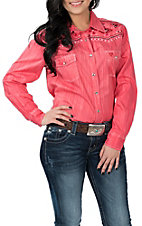 Cowgirl Hardware Women's Coral Brush Dye w/ Embroidery L/S Western Snap Shirt