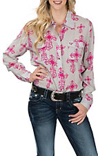 Cowgirl Hardware Women's Cool Grey All Over Steel Cross Print L/S Western Shirt