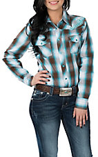 Cowgirl Hardware Women's Light Blue and Brown Plaid L/S Western Snap Shirt