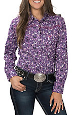 Cowgirl Hardware Women's Floral Eggplant Long Sleeve Rhinestone Snap Western Shirt