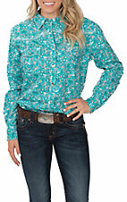 Cowgirl Hardware Women's Aqua Country Floral Long Sleeve Western Snap Shirt