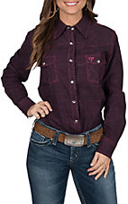 Cowgirl Hardware Women's Hot Pink & Black Textured Long Sleeve Western Shirt