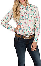 Cowgirl Hardware Cactus Print White Western Shirt