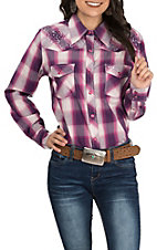 Cowgirl Hardware Women's Ombre Magenta Plaid Western Shirt