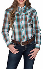 Cowgirl Hardware Women's Ombre Turquoise and Brown Plaid Western Shirt