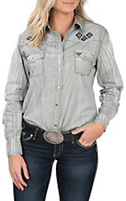 Cowgirl Hardware Women's Grey & White Textured Long Sleeve Western Shirt