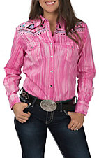 Cowgirl Hardware Women's Brush Dye Long Sleeve Rhinestone Snap Western Shirt