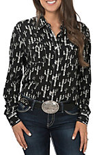 Cowgirl Hardware Cactus Print Black Western Shirt