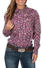 Cowgirl Hardware Pink and Black Peacock L/S Western Snap Shirt
