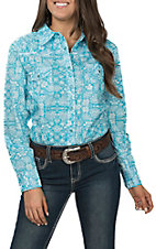Cowgirl Hardware Women's Turquoise Bandanna Print Long Sleeve Western Shirt