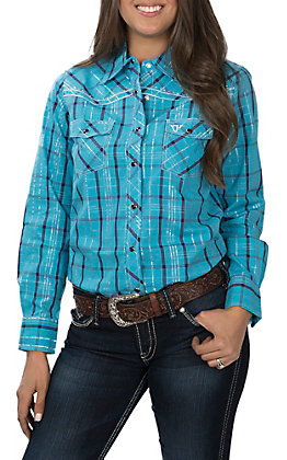 Cowgirl Hardware Women's Turquoise and Purple Plaid Long Sleeve Western Shirt