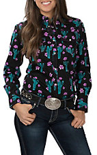 Cowgirl Hardware Women's Black with Rose Cactus Print Long Sleeve Western Shirt