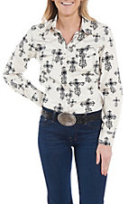 Cowgirl Hardware Women's Black and White Cross Print Long Sleeve Western Shirt