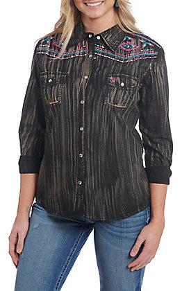 Cowgirl Hardware Women's Brush Dye Long Sleeve Rhinestone Snap Western Shirt