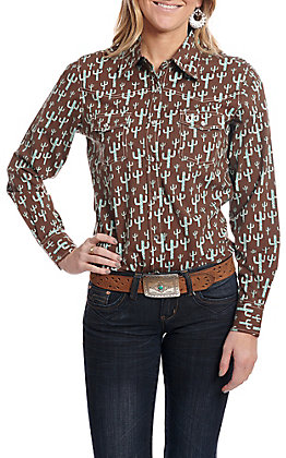 Cowgirl Hardware Women's Brown with Turquoise Cactus Print Long Sleeve Western Shirt