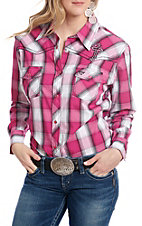 Cowgirl Hardware Women's Pink and White Plaid Long Sleeve Western Shirt