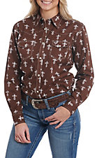 Cowgirl Hardware Women's Steel Cross Long Sleeve Snap Western Shirt