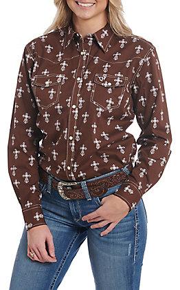 Cowgirl Hardware Women's Steel Cross Long Sleeve Snap Western Shirt
