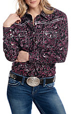 Cowgirl Hardware Women's Black with Banda Print Long Sleeve Western Shirt