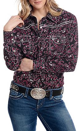 Cowgirl Hardware Women's Black with Banda Print Long Sleeve Western Shirt