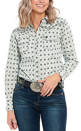 Cowgirl Hardware Women's White Mint Medallion Print Long Sleeve Western Shirt