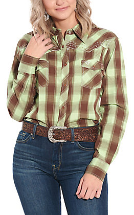 Cowgirl Hardware Women's Mint and Chocolate Plaid with Cross Long Sleeve Western Shirt