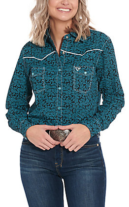 Cowgirl Hardware Women's Black with Turquoise Paisley and Cross Long Sleeve Western Shirt