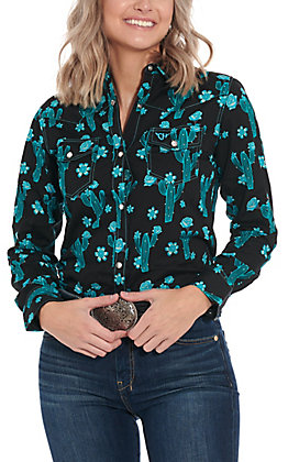 Cowgirl Hardware Women's Black with Turquoise Cactus Print Long Sleeve Western Shirt