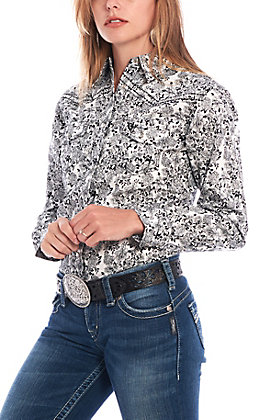 Cowgirl Hardware Women's White and Black Floral Print Long Sleeve Western Shirt
