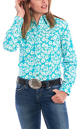 Cowgirl Hardware Women's Turquoise with White Floral Print Long Sleeve Western Shirt