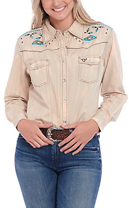 Women's Cowgirl Hardware Brush Dye Light Brown Western Shirt