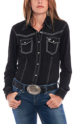 Cowgirl Hardware Women's Black Faux Suede Long Sleeve Western Shirt