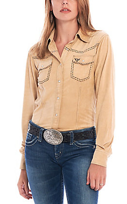 Cowgirl Hardware Women's Buckskin Faux Suede Long Sleeve Western Shirt
