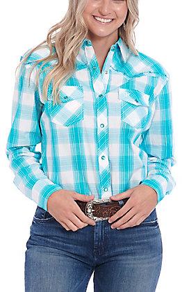Cowgirl Hardware Women's Turquoise Plaid Long Sleeve Western Shirt