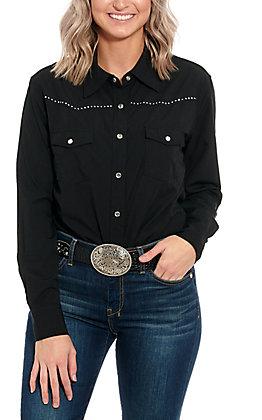 Cowgirl Hardware Women's Black Long Sleeve Western Shirt