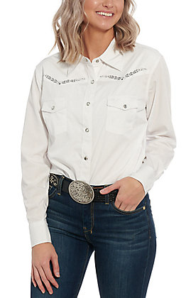 Cowgirl Hardware Women's White Long Sleeve Western Shirt