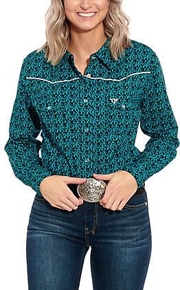 Cowgirl Hardware Women's Black Turquoise Print Long Sleeve Western Shirt
